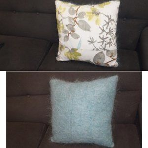 Reversible mohair toss pillow abstract turquoise